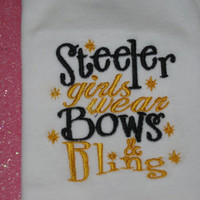 Steeler girls wear bows and bling embroidered Onesuit