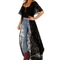 Black Flocked Sheer Light Cover-up