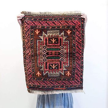 Baluchi Wool Rug in Brown and Red with Green Zig Zags