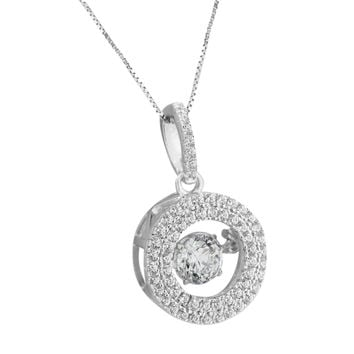 Halo Design Round Pendant Simulated Diamonds Sterling Silver Necklace Solitaire