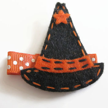 Haloween girls hair clips - Felt black witches hat  orange and black hair clip, haloween hair, winter hair clip, stocking filler,  UK seller