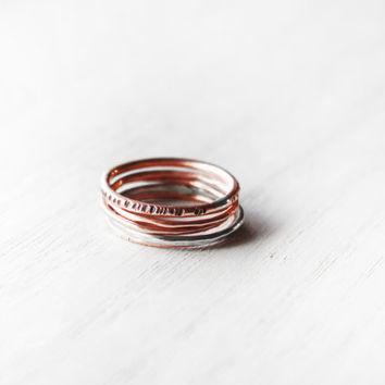 MIxed Metal Stack Ring Set - valentine hammered stack thin delicate sterling silver copper rings - minimalist jewelry