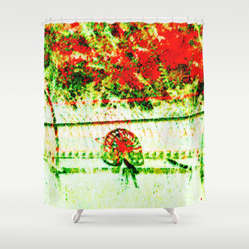Tedder hit the Hay Shower Curtain by Gréta Thórsdóttir #pension #harvest #grass #pasture #crop #red #yellow #green