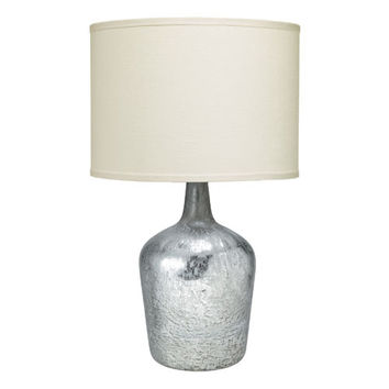 Jamie Young Company 1JAR-MDTM/2DRUM-71CL Plum Jar Mercury Glass One-Light Table Lamp with Sea Salt Linen Shade