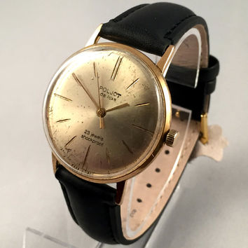 "RARE Vintage Men's wristwatch called ""POLJOT de LUXE"" .This Soviet Mechanical watch 23j, Rare timepiece!"