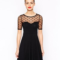 New Look Spot Mesh Skater Dress