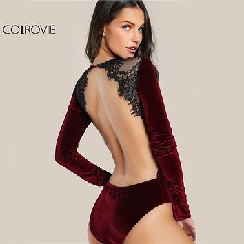 Backless Velvet Lace Bodysuit Burgundy Elegant Women Applique Long Sleeve Bodysuit 2017 New Sexy Vintage Party Bodysuit