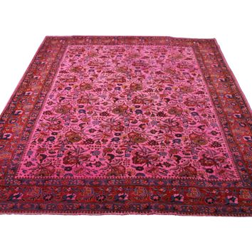 6x9 Overdyed Hot Pink Rug Distressed Vintage Oriental 2828