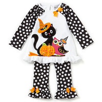 Rare Editions 2T-6X Owl/Cat Halloween Top & Dotted Leggings Set | Dillards