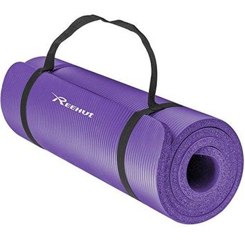1/2-Inch Extra Thick High Density NBR Exercise Yoga Mat w/ Carrying Strap