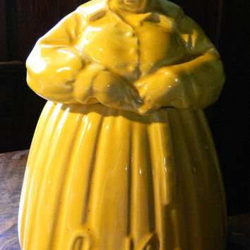 "McCoy Pottery Mammy Cookie Jar with Yellow Glaze - 1948 version with ""Cookies"" - Authentic"