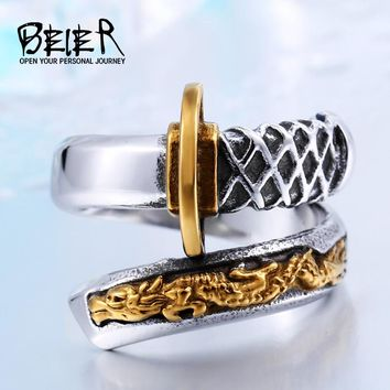 BEIER New Store 316Lstainless Steel Thailand Imported Japanese Samurai Sword Opening Knife Man`s Ring BR8-405