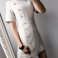 Pearl buckle temperament summer new short-sleeved little black dress A dress female