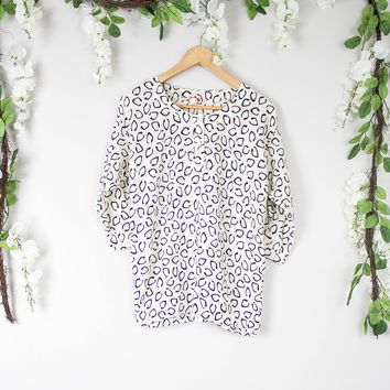 Vintage Black And White Peasant Blouse