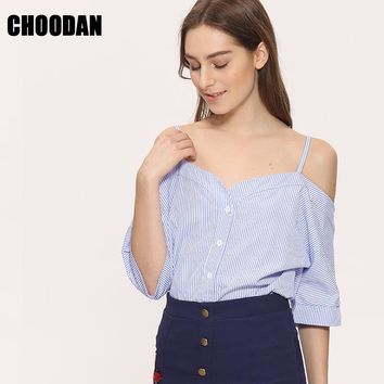 Off Shoulder Blouse Shirt Women Summer  Fashion Korean Style  Sweet Slash Neck Tops Stripe Sexy Shirts Ladies Clothing