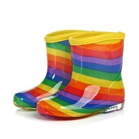 Rainbow Stripe Jelly Best Rain Boots For Girl Toddlers