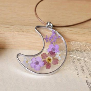 Unique Natural Dried Purple Lavender Flowers in Glass Crescent Moon Frame Pendant I LOVE YOU TO THE MOON Necklace For Women Girl