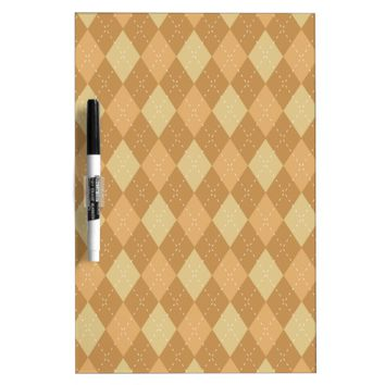 Brown Argyle Like Pattern Dry-Erase Board