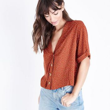 Rust Spot Print Button Rolled Sleeve Shirt | New Look