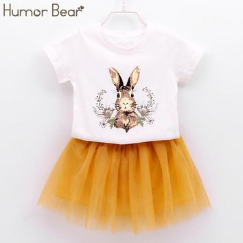 Humor Bear Children Clothes Girls Dress 2018 New Cartoon Printing Girl's Clothes Summer Short Fashions Baby clothes