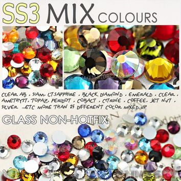 DCK9M2 SS3 1.3-1.4mm Mix Colors Nail Art Rhinestones 1440pcs/bag Glass Strass Non HotFix FlatBack Crystal DIY Nails Decoration Glitters