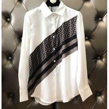 FENDI Hot Sale Stylish Women Casual Long Sleeve Lapel Shirt Top