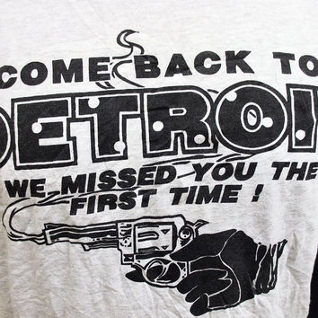 Vintage 1980s T-Shirt Detriot Gun Crime Funny Humour Large