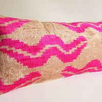 Sukan / SALE, Decorative Pillow, Lumbar Pillow, Throw Pillow Cover, Handmade Long Silk Velvet Ikat Pillow Cover - Beige, Pink Color