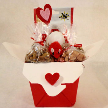 Valentines Day Red cat or ferret treat basket with toys, unique gift, birthday, personalized, cat nip