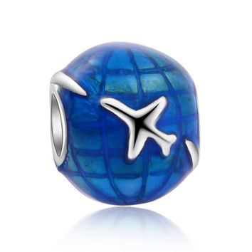 Blue Earth White Plane Travel Around The World Big Hole Charm Beads Silvering DIY Jewelry Accessories For Bracelet Bead JPB319