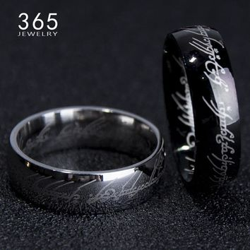 Engrave Letter Classic Work The Lord of One Ring Black Silver Gold Stainless Steel Ring for Men Women senhor dos aneis