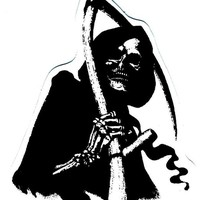 Motorcycle Helmet Sticker - Grim Reaper of Death with Sickle