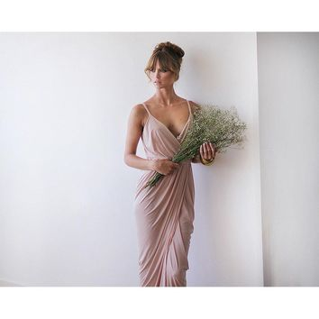 Blush pink bridesmaids wrap maxi dress SALE 1033