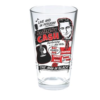 "Now you can stay cool and refreshed one drink at a time with Johnny Cash. This double-sided, screen printed, glass tumbler features a young Johnny Cash image, his famous guitar, and vintage concert poster inspired art! Holds 16oz and is 5.75"" tall."