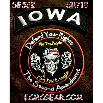 IOWA Defend Your Rights the 2nd Amendment 2 Patches Set for Vest Jacket