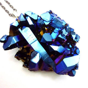 Titanium Quartz Cobalt Blue Aura Rainbow Crystal Cluster Druzy Necklace by AstralEYE