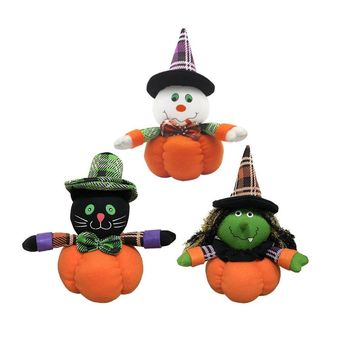 New Witch Ghost Black Cat Pumpkin Plush Doll with Stocking Cap for Halloween Parties Dancing Hall Mall Decor