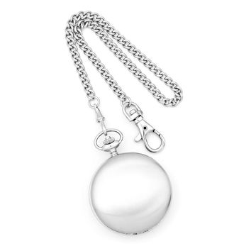 Diamond Charles Hubert Stainless Steel Double Cover Satin Pocket Watch