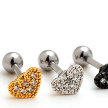 Lovely heart-shaped zircon Cartilage Studs stainless steel antiallergic tragus Earring-0427-Gifts box