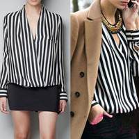 S M L Women's Fashion V Neck T-Shirts OL Style Long Sleeve Stripes Top Blouse J
