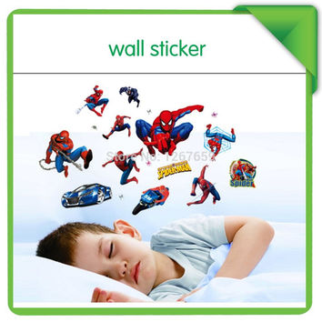 decorative big size spider man cartoon wall stickers decal for home DIY nursery sticker decortation for kids room SM6