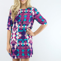 Mirror Mirror Berry and Teal Geometric Shift Dress