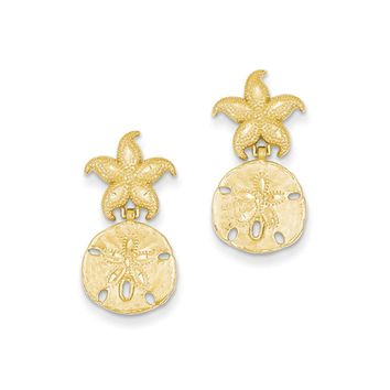 Starfish and Sand Dollar Dangle Post Earrings in 14k Yellow Gold