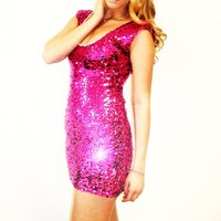 Plus Size Fuchsia Pink Capsleeve V-Back Dress