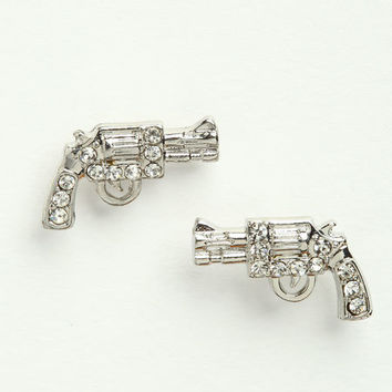 RHINESTONE GUN EARRINGS