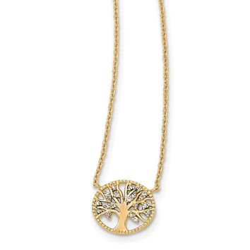 Sterling Silver Polished White Gold-plated Tree With Cz Necklace