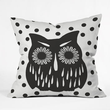 Garima Dhawan Vintage Black Owl Throw Pillow