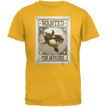 DCCKJY1 Orca Killer Whale Wanted For Murder Gold Adult T-Shirt