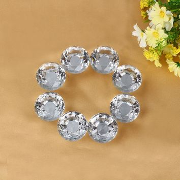 New Arrival 8Pcs/Sets 40mm Clear Crystal Glass Door Knobs Drawer Cabinet Furniture Kitchen Handle Durable