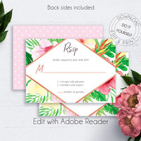 Tropical Wedding RSVP Card, Wedding Insert Card, Enclosure Card, Invitation Insert, Palm Leaf, Summer Wedding, Watercolor Wedding Response